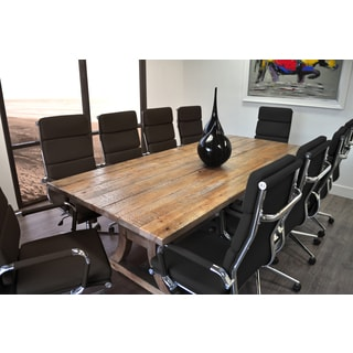 SOLIS Ligna Conference Set 11-Piece Solid Wood Table with Black Bonded Leather Office Chairs