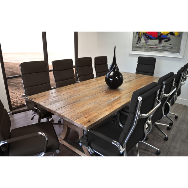 SOLIS Ligna Conference Set 11 Piece Solid Wood Table With Black Bonded  Leather Office Chairs