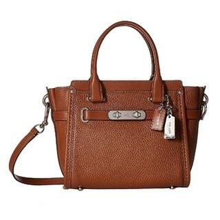 Coach Pebbled Leather Swagger Silver/Saddle Satchel Handbag