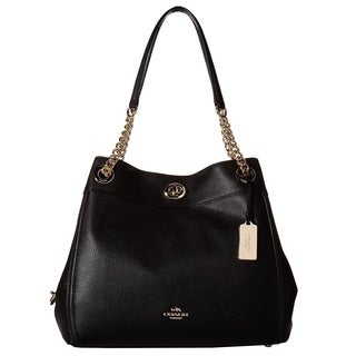 COACH Turnlock Edie Light Gold/Black Hobo Handbag