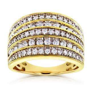 Annello by Kobelli 10k Yellow Gold 1ct TDW Diamond Anniversary Band Wide Multi-Row Ring (HI, I2)