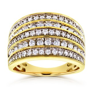 Annello by Kobelli 10k Yellow Gold 1ct TDW Diamond Anniversary Band Wide Multi-Row Ring