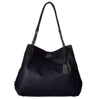 COACH Turnlock Edie Dark Navy Hobo Handbag