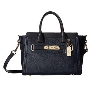 Coach Pebbled Leather Swagger 27 Light Gold/Navy Handbag