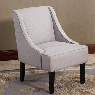 Finley Gray Fabric Winged Accent Chair