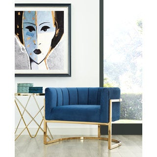 Magnolia Blue/Gold Stainless Steel/Velvet Chair with Gold Base