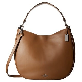 Coach Glovetan Leather Nomad Silver/Saddle Hobo Handbag