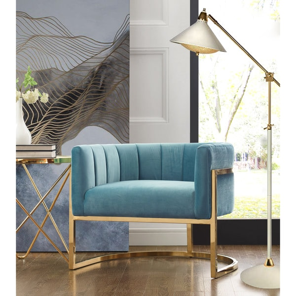 Magnolia Glam Sea Blue Velvet Chair with Gold Base. Opens flyout.