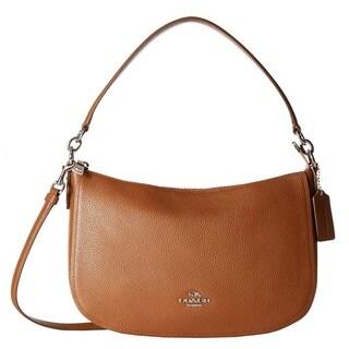 Coach Chelsea Leather Silver/Saddle Crossbody Handbag