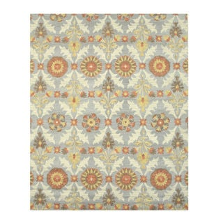 Hand-tufted Wool Blue Transitional Floral Marcel Rug (5' x 8')