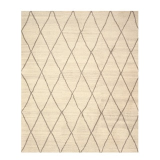 EORC Hand Knotted Wool Ivory Trellis Moroccan Rug (12' x 15')