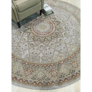 Hand-tufted Wool Gray Traditional Oriental Gonbad Rug (6' Round)