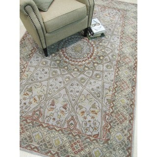 Hand-tufted Wool Gray Traditional Oriental Gonbad Rug (7'9 x 9'9)