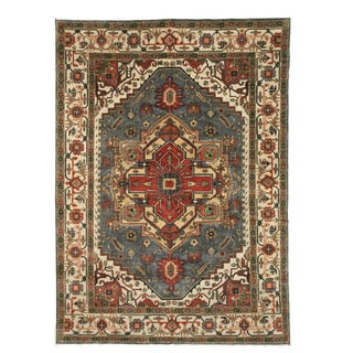 Hand-knotted Wool Blue Traditional Oriental Serapi Rug (8' x 10')