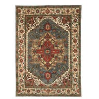 Hand-knotted Wool Blue Traditional Oriental Serapi Rug (8' x 10') - 8' x 10'