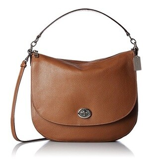 COACH Pebbled Turnlock Silver/Saddle Hobo Handbag