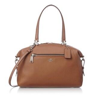 COACH Pebbled Leather Large Prairie Silver/SaddleSatchel Handbag