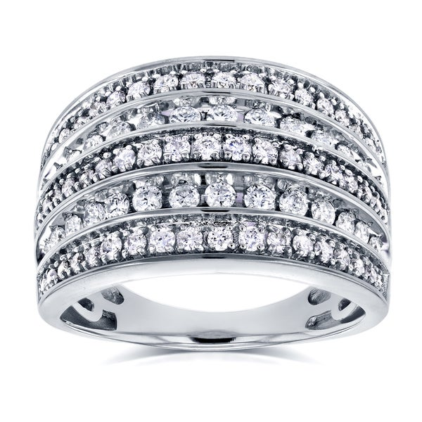 Annello by Kobelli 10k White Gold 1ct TDW Diamond Anniversary Band Wide Multi-Row Ring