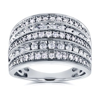 Annello by Kobelli 10k White Gold 1ct TDW Diamond Anniversary Band Wide Multi-Row Ring (HI, I2)