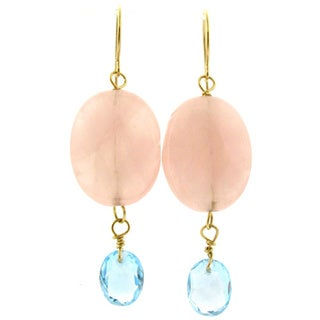 14k Yellow Gold Rose Quartz and Blue Topaz Earrings