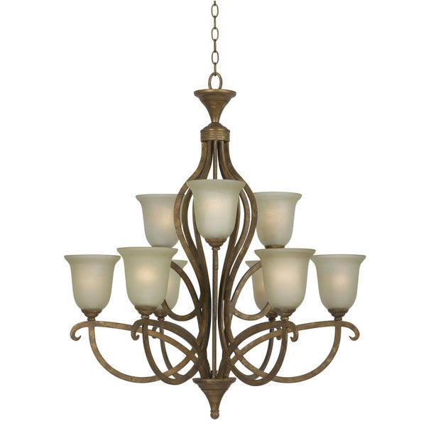 Emmett Goldtone Finish Glass Shade Hand Forged Iron 9 Light Chandelier Gold