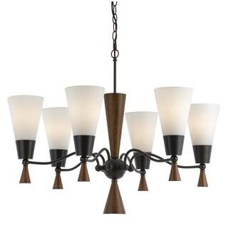 Verona Mahogany Wood and Glass 6-light 60-watt Chandelier - Brown/White