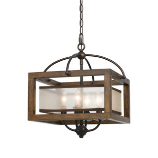 Bronze-finished Wood/Metal Semi-flush Pendant Fixture
