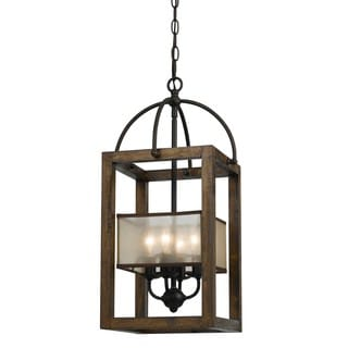 Mission Bronze Metal and Wood 4-light Chandelier