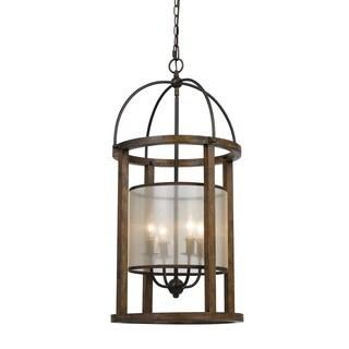 60W x 4 Wood, Metal Lantern Chandelier