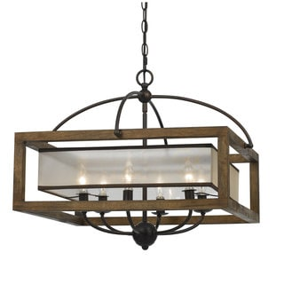Bronze-finish 6-light Square 60-watt Chandelier