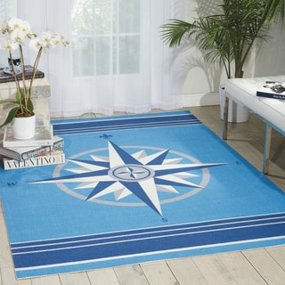 Waverly Sun and Shade Blue Indoor/ Outdoor Area Rug by Nourison (10' x 13')