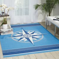 Waverly Sun and Shade Blue Indoor/ Outdoor Area Rug by Nourison - 10' x 13'