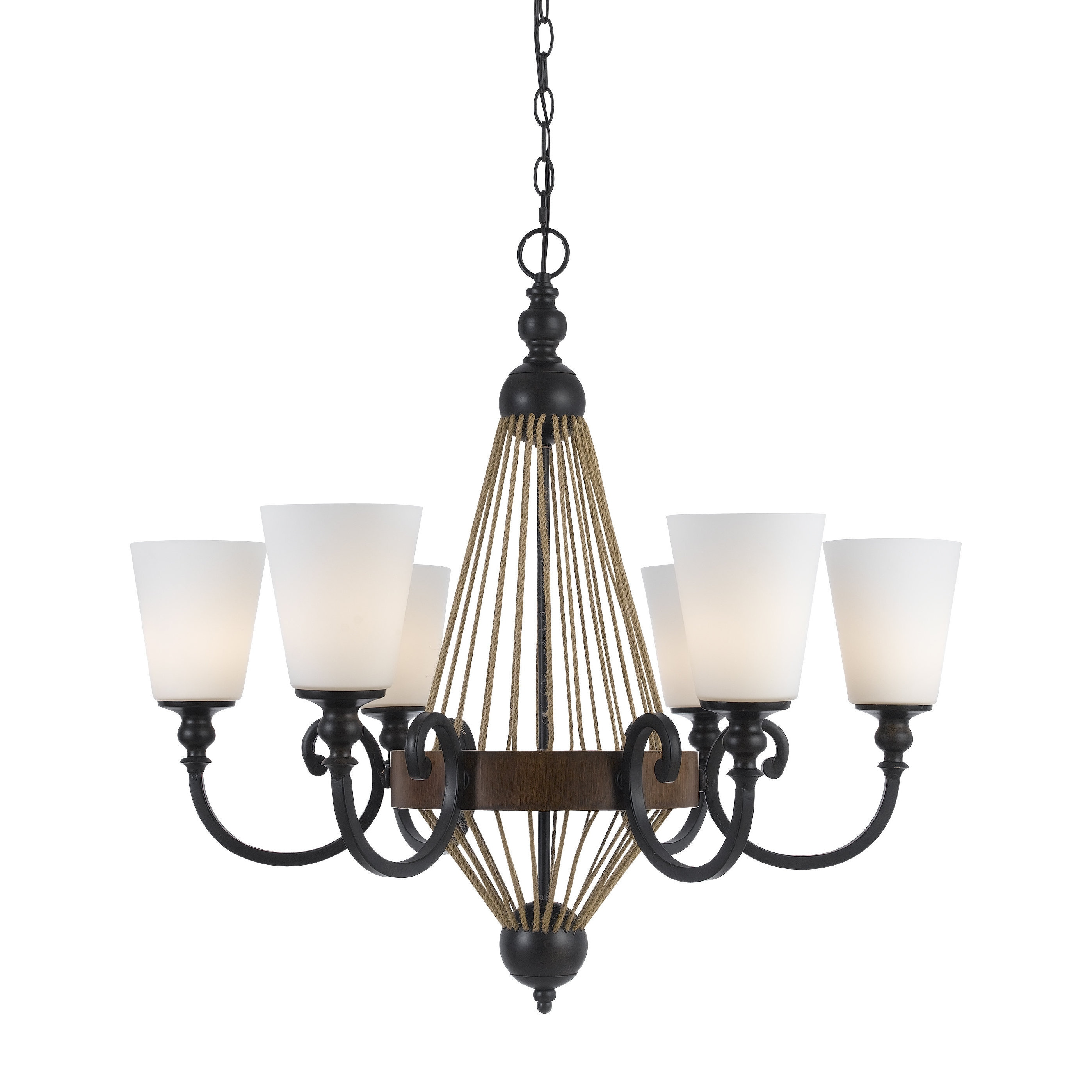 Monticello Bronze Metal Wood 6 light Chandelier