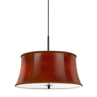 Walton Red/Black Leather/Metal Pendant Lighting Fixture