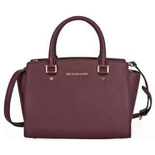 Michael Kors Selma Medium Saffiano Leather Plum Satchel Handbag