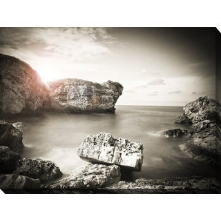 """Black & White Ocean Sunset"" Giclee Print Canvas Wall Art"