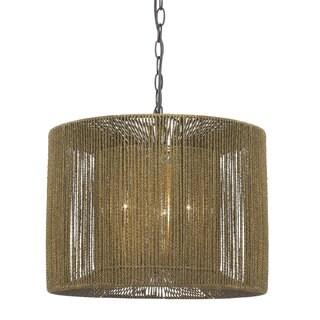 Brown Rattan String Pendant Light Fixture
