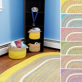 Kids Place Indoor / Outdoor Reversible Braided Rug by Rhody Rug (7' x 9')
