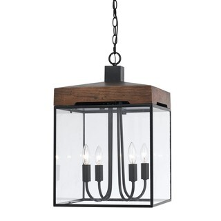 Antonio Bronze Finish Metal and Glass 60-watt 4-light Lantern Chandelier