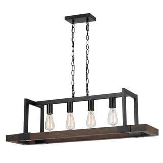 Antonio Bronze Wood/Metal Rustic-style 4-light Chandelier