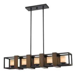 Metal Glass Wood 5-light Island Fixture