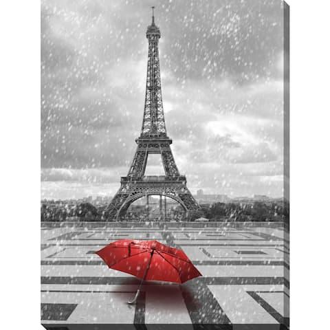 """""""Umbrella in Paris"""" Giclee Print Canvas Wall Art"""