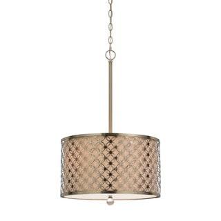 Myrtle Brass Metal/Linen Antique-style Pendant Fixture