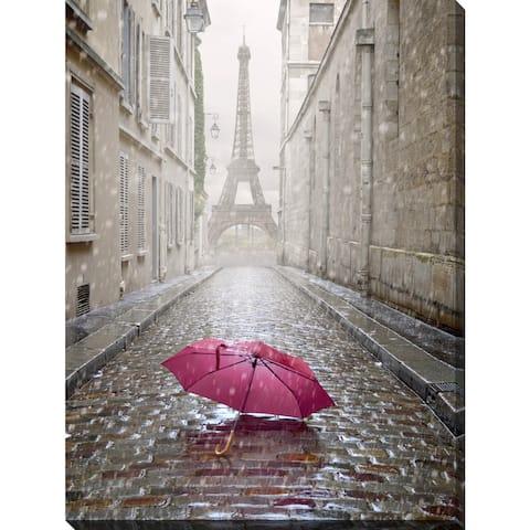 'Umbrella in Paris' Giclee Print Canvas Wall Art