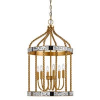 Glenwood Gold-tone Metal 6-light Cage-style Pendant Fixture - Gold