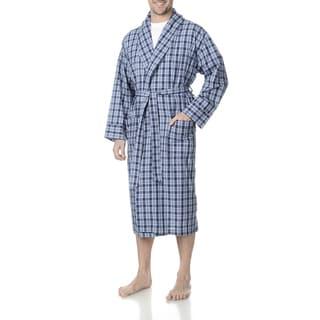 Hanes Men's Blue Cotton, Polyester Plaid Woven Robe
