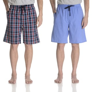 Hanes Men's Blue Cotton and Polyester Plaid Woven Shorts (Set of 2)