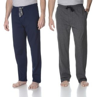 Hanes Men's Navy and Grey Solid Knit Lounge Pant (Set of 2)