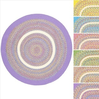 Kids Place Indoor / Outdoor Reversible Round Braided Rug by Rhody Rug, 6 ft Round