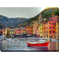 """Portofino, Italy II"" Giclee Print Canvas Wall Art - Blue/Yellow"